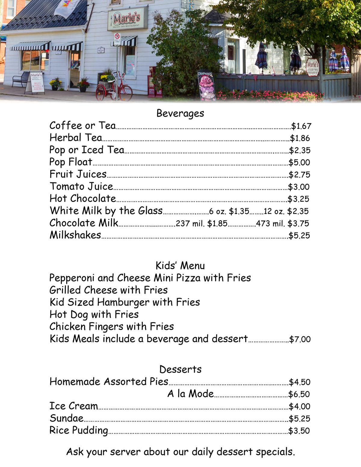 Maries Valley Inn Restaurant Beverage & Desert