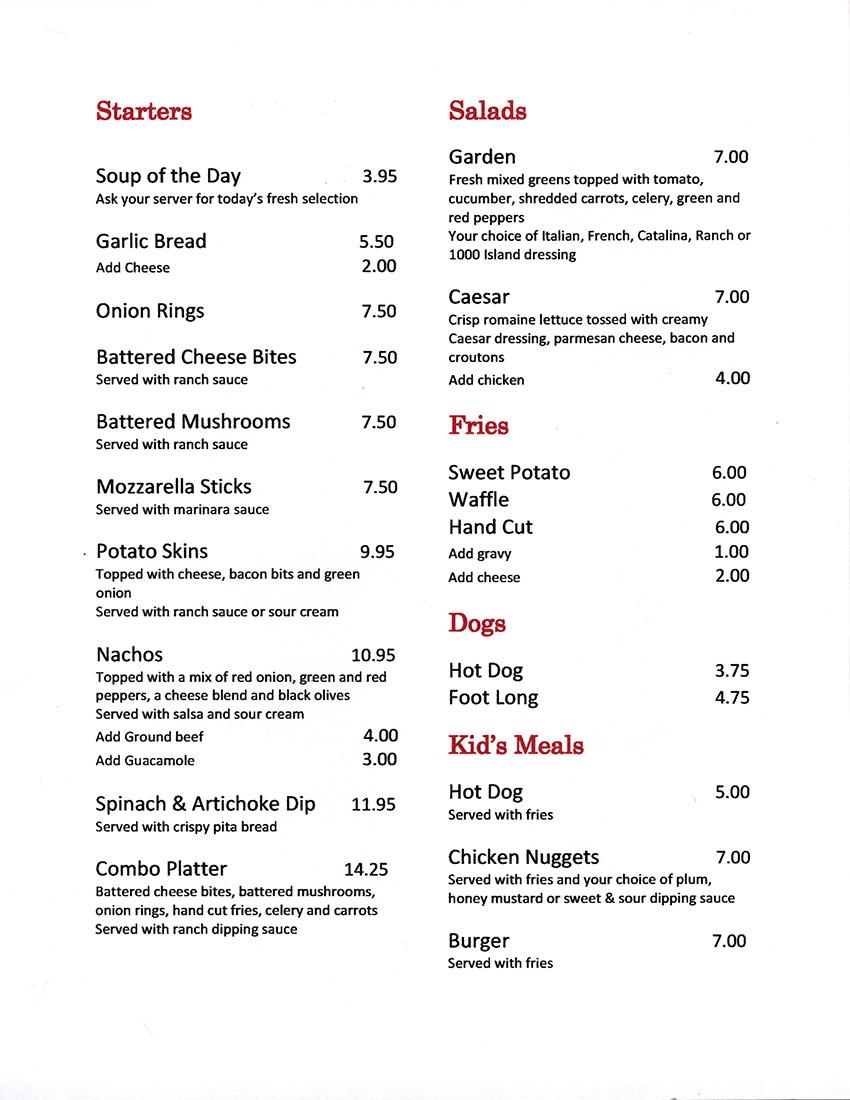 RedWood Restaurant Menu - Clifford, Ontario
